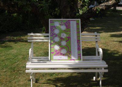 Placeringstavla trädgårdsbröllop